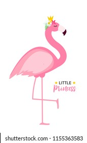 Cute Little Princess Abstract  Background with Pink Flamingo  Illustration