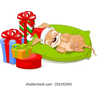 Cute little puppy with Santa Hat is sleeping near Christmas gifts. Raster version