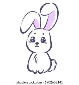 Cute little purple bunny isolated