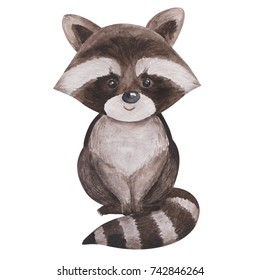 Cute little racoon, watercolor painted sketch, hand drawn kids illustration, good for baby clothes print, children greeting card, funny lovely woodland animal character.