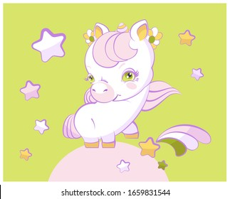 Cute little unicorn with pink hair hooves a shooting star.