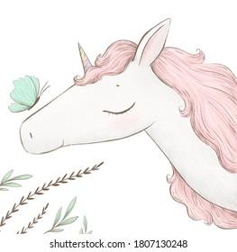 Cute little unicorn, summer magic card