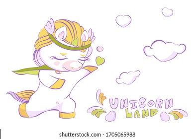 Cute little unicorn white prince in love on one knee