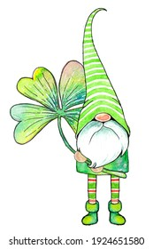 Cute little watercolor cartoon gnome in a green striped cap with a four-leaf clover leaf isolated on a white background