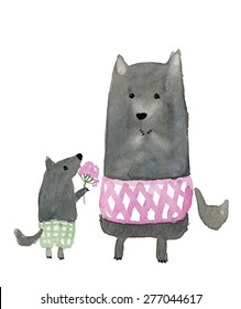 The cute little wolf with pink flowers and his mom.Cute watercolor animal illustration. Fat funny grey dog. Symbol 2018.