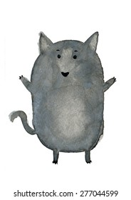 The cute little wolf. Cute watercolor animal illustration. Fat funny grey dog. Symbol 2018.