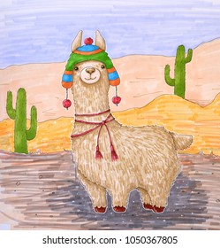 Cute llama in colored hat. Drawing.