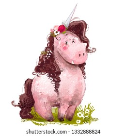 cute lovely pink unicorn with floral wreath