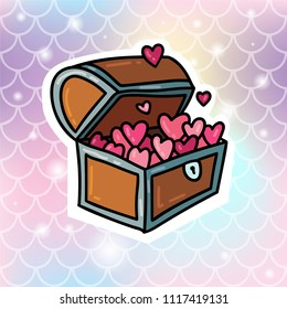 Cute magic romantic treasure chest with hearts inside sticker badge pin illustration on gradient soft fish scale background. Card or poster design concept