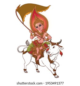 Cute male angel sitting on a white cow holding flag represents the year of cow. Happy Khmer New Year!