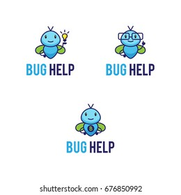 Cute mascot logos set with funny abstract fictional bugs. Insects logos: superhero bug, geek or teacher and bug with lightbulb idea icon. Cartoon characters  illustrations.