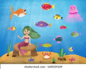 cute mermaid cartoon under the sea
