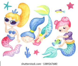 Cute mermaid characters and fish on white background. Watercolor mermaid girl. Colorful girl character. Handdrawn nursery clipart. Girl birthday decor. Underwater fairy tale. Marine cartoon character