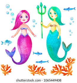 Cute Mermaid and sea life collection set watercolor illustration isolated on white background