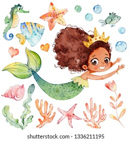 Cute Mermaid Watercolor African Character Set. Small Underwater Woman Siren Teenage Mythology Princess. Fashion Aquatic Isolated Nymph Painted. Sea Coral Collection Flat Cartoon Illustration