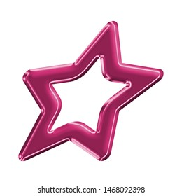 Cute metallic pink sheared rounded star shape design element in a 3D illustration with a fun shiny pink color glowing surface style with a smooth shine style isolated on white with clipping path