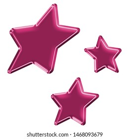 Cute metallic pink sheared rounded star shapes set design elements in a 3D illustration with a fun shiny pink color glowing surface style with a smooth shine style isolated on white with clipping path