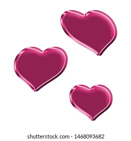 Cute metallic pink sheared rounded hearts set shapes design elements 3D illustration with a fun shiny pink color glowing surface style with a smooth shine style isolated on white with clipping path