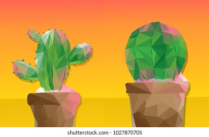 Cute Mexican Green Cactus Nature Garden Plant Art Decoration Succulent Geometry Polygon on Yellow Background for Summer, Poster, Card, Background Design Illustration