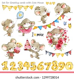 cute mice illustration. Funny cartoon mouse for Birthday Cards background