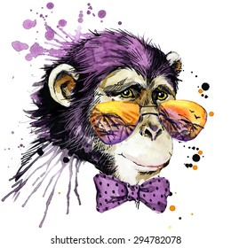 Cute monkey chimpanzee. cool sunglasses. watercolor illustration. african animals. exotic nature. wildlife. monkey year.