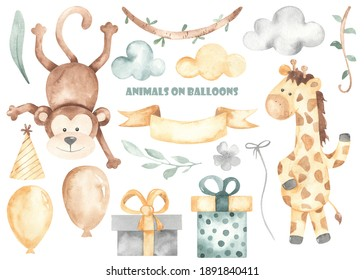 Cute monkey, giraffe and birthday elements. Balloons, clouds, gifts, ribbon, leaves, lianas. Watercolor clipart