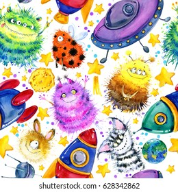 cute monster seamless pattern. watercolor cartoon space illustration. rocket. Flying saucer. alien