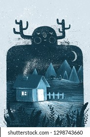 Cute monster with winter house and landscape inside. Fantasy illustration.