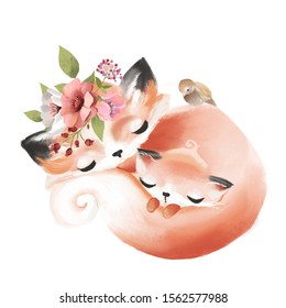 Cute mother fox with a baby fox, flowers and bird watercolor illustration