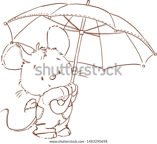 Cute Mouse Coloring Page Fall Outlined Stock Illustration 1483290698