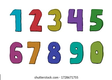 Cute multi colored primitive numbers illustration