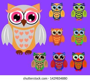 Cute multicolored cartoon owls for children, different designs