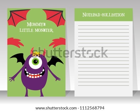 cute notebook template kids happy monster stock illustration
