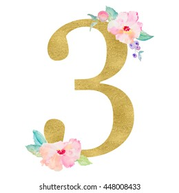 Cute Number 3 With Watercolor Flowers. Perfect for Little Girl's 3rd Birthday