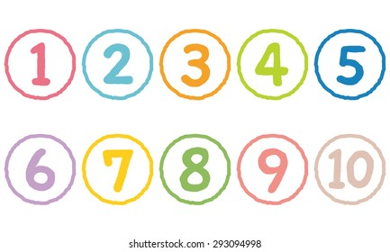 """the Cute numbers 1 to 10 """"colorful line type"""""""