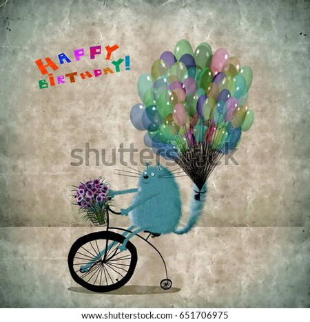 Cute Old Fashioned Birthday Card Friendly Stock Illustration