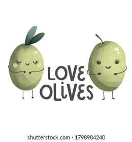 cute olives character with face, green lettering organic nature illustration, hand drawing