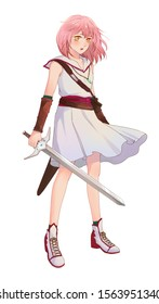 Cute original character design of fantasy female girl warrior or swordswoman magic fencer knight in Japanese manga illustration style with isolated white background