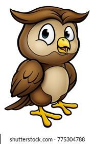 A cute owl cartoon character mascot