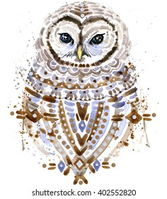 Cute owl. Ethnic background. Watercolor forest bird illustration.