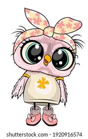 cute owl illustration, textile printing