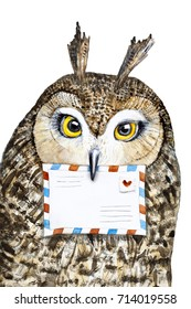Cute owl portrait with big eyes holding in beak a mail envelope. Owl post office character. Hand painted watercolour illustration on white background. Can be used as postcard, invitation, decor.