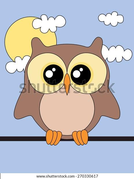 Cute Owl Sun Clouds Owl Wallpaper Stock Illustration 270330617