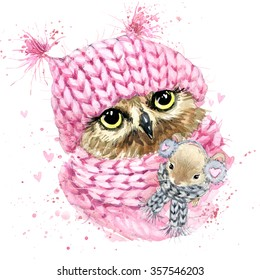 Cute owl watercolor illustration. Fashion design. Christmas illustration. Forest animals. Wild nature.