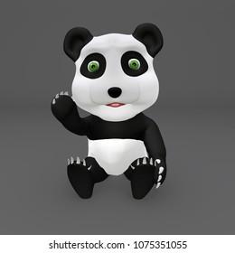 Cute Panda 3D Illustration