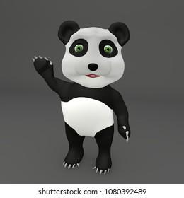 Cute panda Greetings 3D Rendering