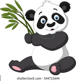 Cute panda holding bamboo