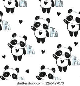 Cute panda illustration. Panda baby seamless. Pattern. Fabric Design.