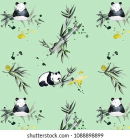 Cute Panda Pattern and bamboo
