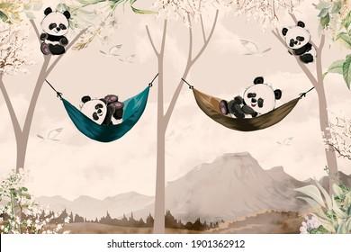 cute pandas lying in hammock for child room wallpaper design